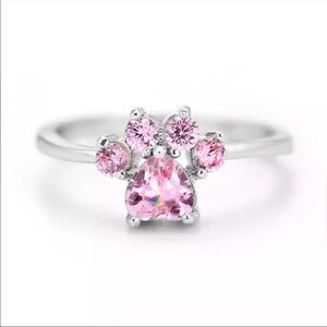 New s925 silver adjustable pink CZ women's ring